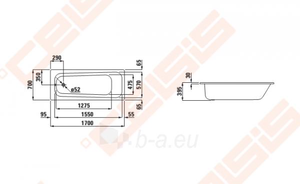 Vonia LAUFEN Moderna Plus 107x70 cm, su triukšmo slopintuvais Paveikslėlis 2 iš 2 270716001129