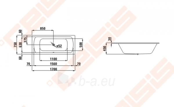 Vonia LAUFEN ModernaPlus 170x75 cm, su triukšmo slopintuvais Paveikslėlis 2 iš 2 270716001130