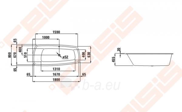 Vonia LAUFEN Palomba 180x80 cm, įleidžiama Paveikslėlis 2 iš 2 270716001132