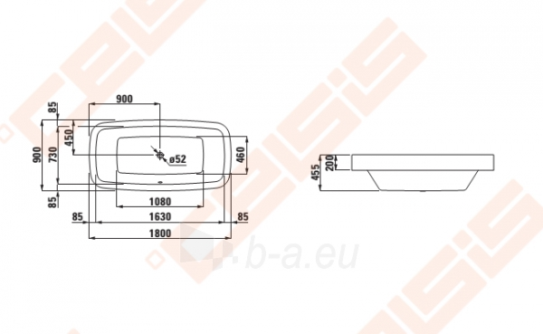 Vonia LAUFEN Palomba 180x90 cm, įleidžiama Paveikslėlis 2 iš 2 270716001133