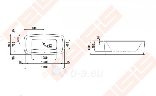 Vonia LAUFEN Palomba 180x90 cm, laisvai statoma Paveikslėlis 2 iš 2 270716001134