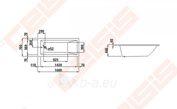 Vonia LAUFEN Pro 160x70 cm, įleidžiama Paveikslėlis 2 iš 2 270716001136