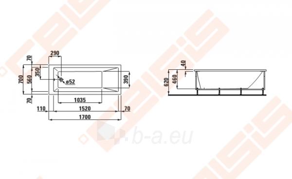 Vonia LAUFEN Pro 170x70 cm, laisvai statoma su rėmu Paveikslėlis 2 iš 2 270716001140