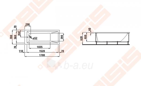 Vonia LAUFEN Pro 170x70 cm, statoma į dešinį kampą su L formos apdaila Paveikslėlis 2 iš 2 270716001141