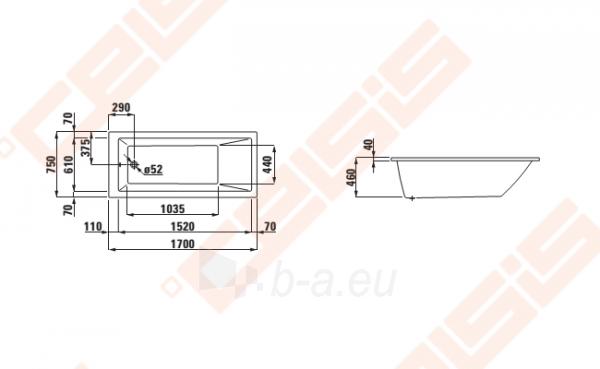 Vonia LAUFEN Pro 170x75 cm, įleidžiama Paveikslėlis 2 iš 2 270716001142