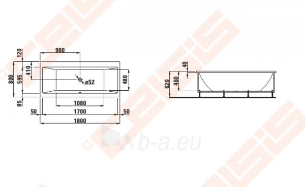 Vonia LAUFEN Pro 180x80 cm, statoma į dešinį kampą su L formos apdaila Paveikslėlis 2 iš 2 270716001147