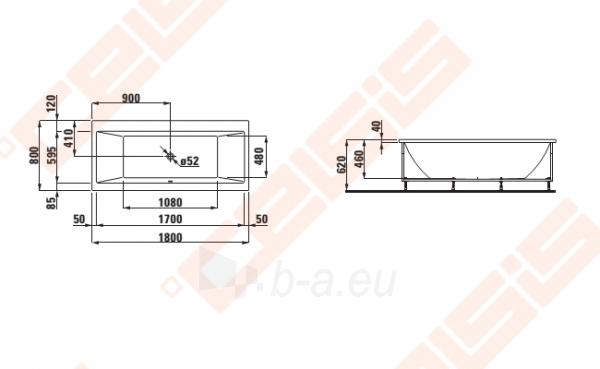 Vonia LAUFEN Pro 180x80 cm, statoma į kairį kampą su L formos apdaila Paveikslėlis 2 iš 2 270716001148