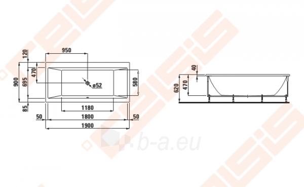 Vonia LAUFEN Pro 190x90 cm, su rėmu Paveikslėlis 2 iš 2 270716001149
