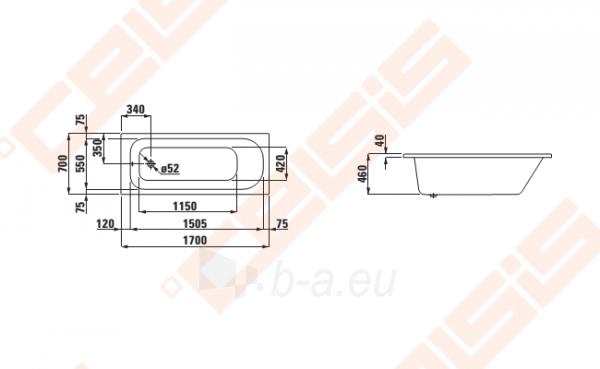 Vonia LAUFEN Solutions 170x70 cm, įleidžiama Paveikslėlis 2 iš 2 270716001150