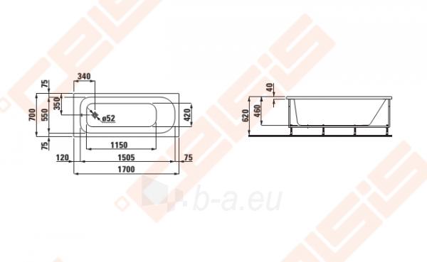 Vonia LAUFEN Solutions 170x70 cm, su rėmu Paveikslėlis 2 iš 2 270716001151