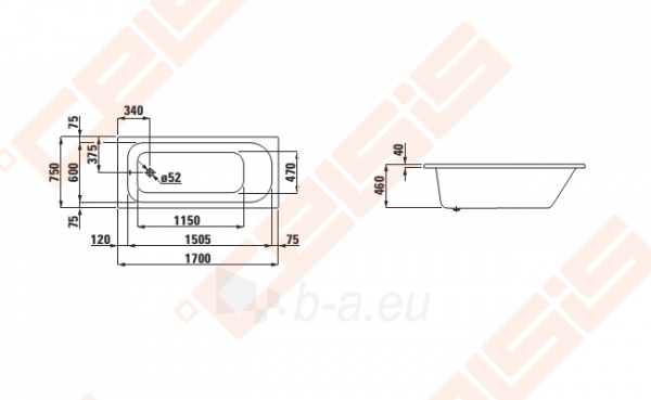 Vonia LAUFEN Solutions 170x75 cm, įleidžiama Paveikslėlis 2 iš 2 270716001152