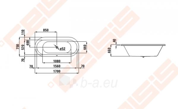 Vonia LAUFEN Solutions 170x75 cm, ovali įleidžiama Paveikslėlis 2 iš 2 270716001153