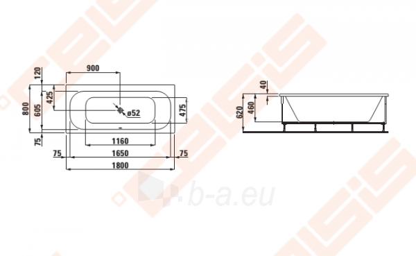 Vonia LAUFEN Solutions 180x80 cm, su rėmu Paveikslėlis 2 iš 2 270716001158