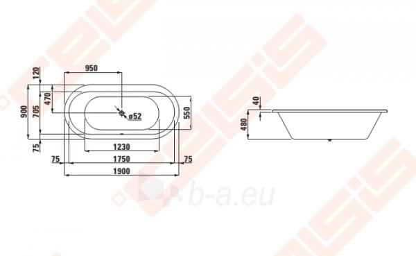 Vonia LAUFEN Solutions 190x90 cm, ovali įleidžiama Paveikslėlis 2 iš 2 270716001159