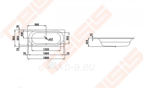 Vonia LAUFEN Thallium, 180x80 cm, su triukšmo slopintuvais Paveikslėlis 2 iš 2 270716001160