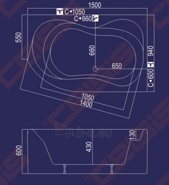 Vonia Neringa 150x94x60 dešinė Paveikslėlis 3 iš 3 270716000389