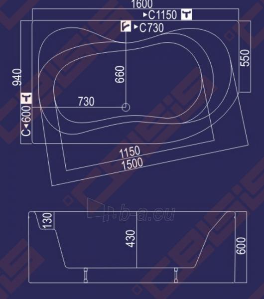 Vonia Neringa 160x94x60 dešinė Paveikslėlis 3 iš 3 270716000391