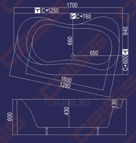 Vonia Neringa 170x94x60 kairė Paveikslėlis 3 iš 3 270716000394
