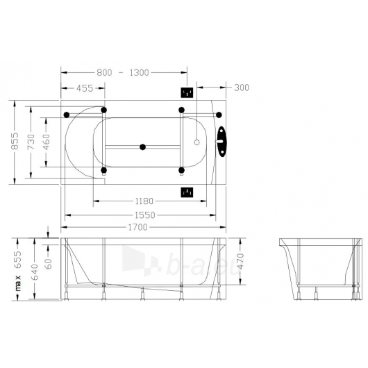 Vonia PAA Accord 170x85 Paveikslėlis 4 iš 4 270716000792