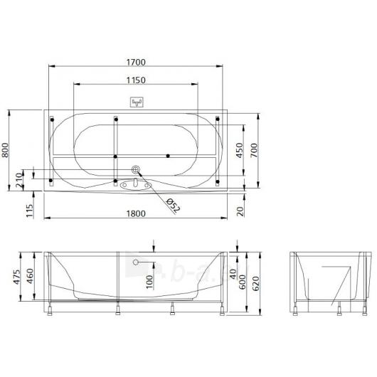 Vonia PAA Prelude 180x80 Paveikslėlis 2 iš 2 270716000796