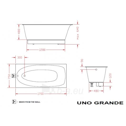 Vonia PAA Uno grande 170x75 Paveikslėlis 1 iš 4 270716000802