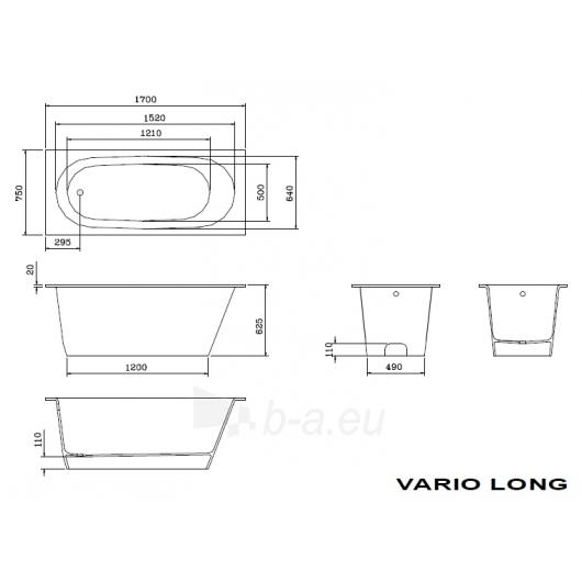 Vonia PAA Vario Long 160-170x75x62 Paveikslėlis 1 iš 6 270716000963