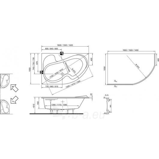 Vonia Ravak Rosa I 150x105 L/R Paveikslėlis 2 iš 5 270716000834
