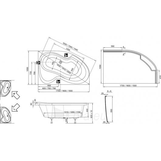 Vonia Ravak Rosa II 150x105 L/R Paveikslėlis 4 iš 5 270716000836