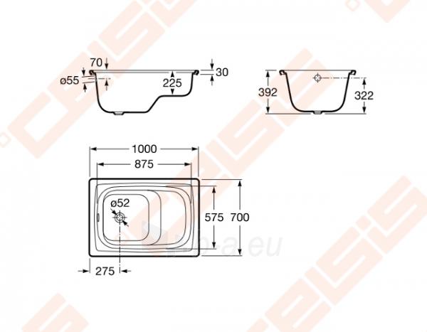 Vonia ROCA Contesa 100x70 cm, sėdimoji (su profiliuotu kraštu) Paveikslėlis 2 iš 2 270716001161