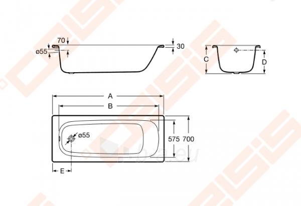 Vonia ROCA Contesa 160x70 cm Paveikslėlis 2 iš 3 270716001163