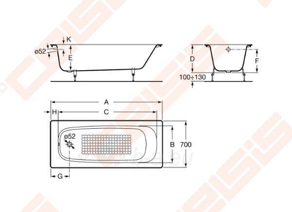 Vonia ROCA Continental 170x70 cm, antislip Paveikslėlis 3 iš 3 270716001170