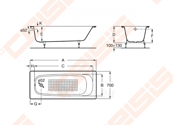 Vonia ROCA Continental 170x70 cm, be antislip Paveikslėlis 3 iš 3 270716001171