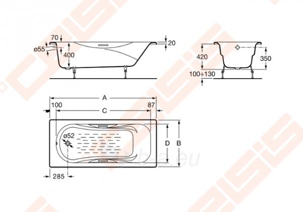 Vonia ROCA Malibu 170x70 cm, be chromuotų rankenėlių ir su antislip Paveikslėlis 2 iš 3 270716001180