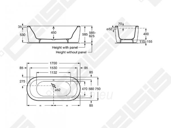 Vonia ROCA Newcast 170x85 cm, pilka Paveikslėlis 3 iš 5 270716001185