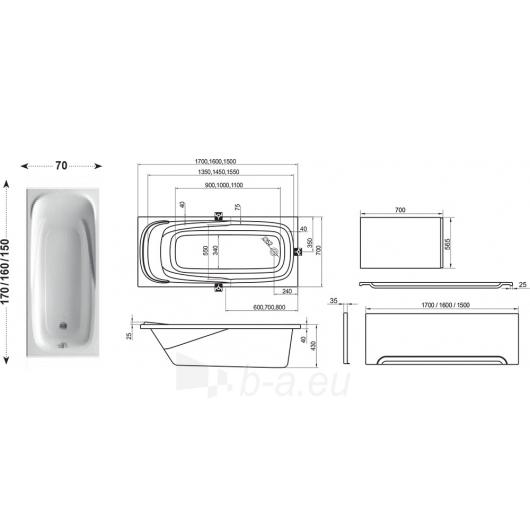 Vonia Vanda II 150/160/170X70cm Paveikslėlis 3 iš 5 270716001280