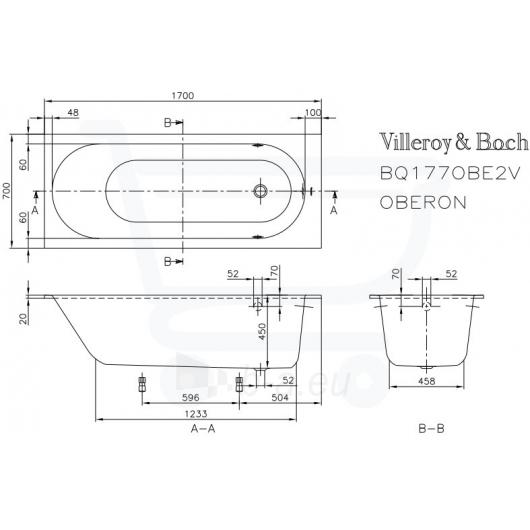 Vonia Villeroy&Boch Oberon 170x70 Paveikslėlis 1 iš 4 270716000844