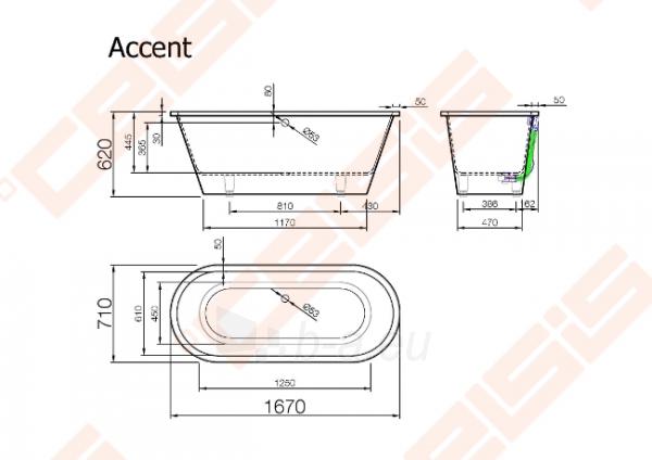 Vonia VISPOOL Accent 167x71 cm Paveikslėlis 5 iš 5 270716001196