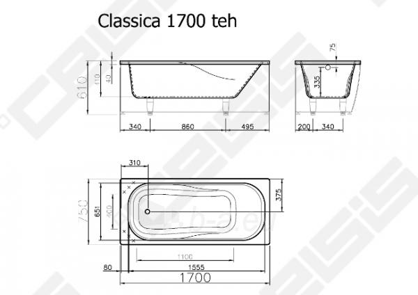Vonia VISPOOL Classica 170x75 cm Paveikslėlis 7 iš 7 270716001198