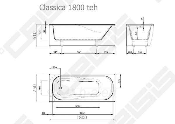 Vonia VISPOOL Classica 180x75 cm Paveikslėlis 7 iš 7 270716001199