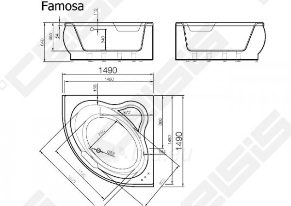 Vonia VISPOOL Famosa 145x145 cm Paveikslėlis 7 iš 7 270716001202