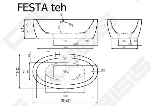 Vonia VISPOOL Festa 204x110 cm Paveikslėlis 6 iš 6 270716001203