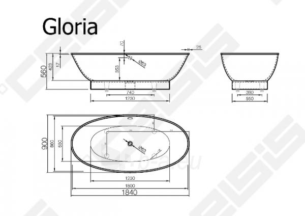 Vonia VISPOOL Gloria 184x90 cm Paveikslėlis 5 iš 5 270716001205