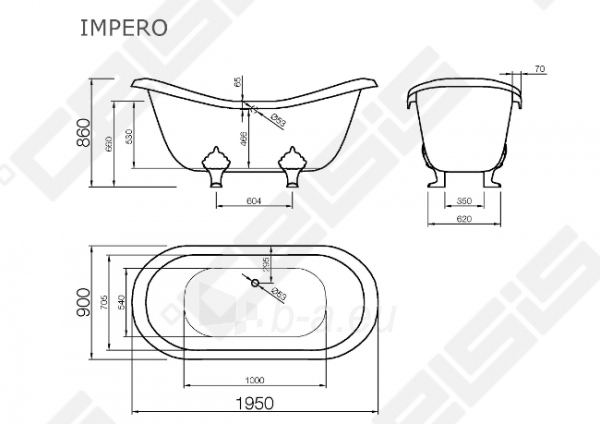 Vonia VISPOOL Impero 195x90 cm, be kojų Paveikslėlis 6 iš 6 270716001206