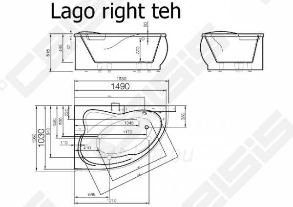 Vonia VISPOOL Lago 153x106 cm, dešinė Paveikslėlis 6 iš 6 270716001207
