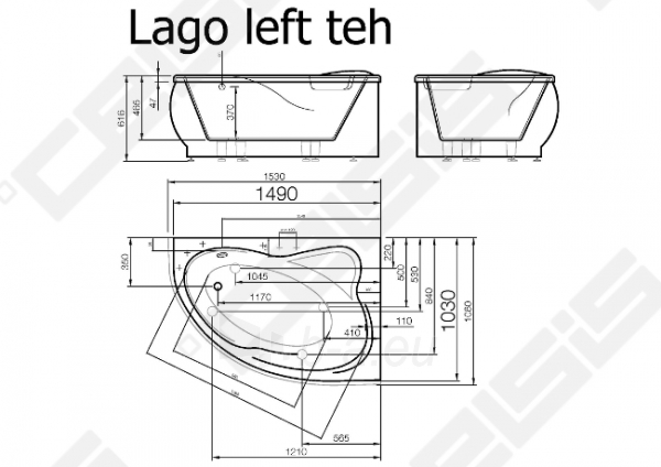 Vonia VISPOOL Lago 153x106 cm, kairė Paveikslėlis 6 iš 6 270716001208