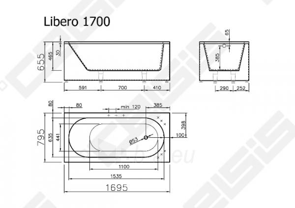 Vonia VISPOOL Libero 169,5x79,5 cm Paveikslėlis 7 iš 7 270716001209