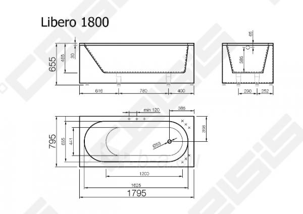 Vonia VISPOOL Libero 179,5x79,5 cm Paveikslėlis 7 iš 7 270716001210