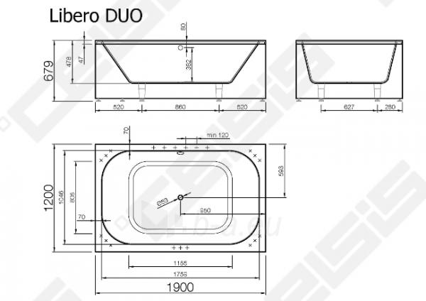 Vonia VISPOOL Libero Duo 190x120 cm Paveikslėlis 3 iš 3 270716001211