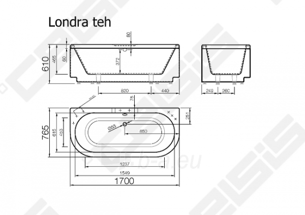 Vonia VISPOOL Londra 170x76,5 cm Paveikslėlis 6 iš 6 270716001213