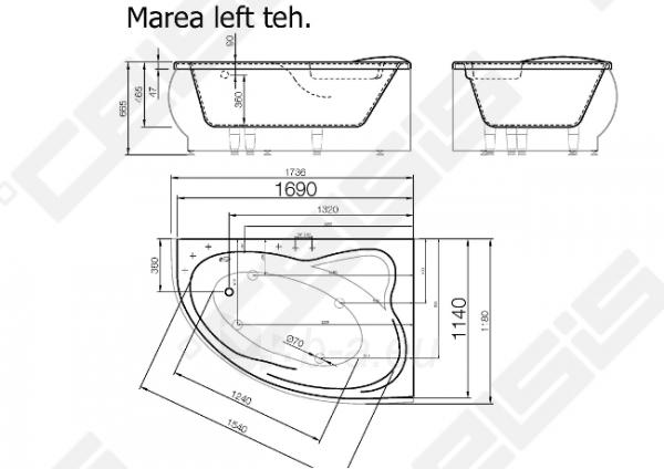 Vonia VISPOOL Marea 173,6x118 cm, kairė Paveikslėlis 6 iš 6 270716001215